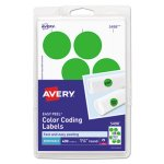 Avery Print or Write Color-Coding Labels, Neon Green, 400 per Pack (AVE05498)