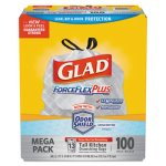 Glad 13 Gallon ForceFlex Tall Kitchen Drawstring Trash Bags, 100 Bags (CLO70427)