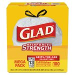Glad 13 Gallon Drawstring Tall Kitchen Bags, 100 Bags (CLO78526)