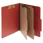 Pressboard 25-Pt. Classification Folder, 6-Section, Red, 10 per Box (ACC16036)