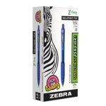 Zebra Z-Grip Retractable Ballpoint Pen, Blue Ink, Medium, Dozen (ZEB22220)