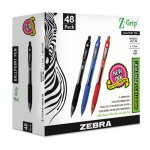 Zebra Z-Grip Retractable Ballpoint Pen, Assorted Ink, Medium, 48 Pens (ZEB22048)