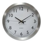 "Universal Brushed Steel Finish Wall Clock, 12"", Silver, 1 AA Battery (UNV10425)"