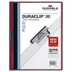 Vinyl DuraClip 30 Page Report Cover, Letter, Clear/Maroon, 25/Box (DBL220331)