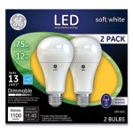 Ge LED Soft White A21 Dimmable Light Bulb, 12W, 2/Pack (GEL65943)