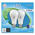 Ge LED Daylight A21 Dimmable Light Bulb, 12W, 2/Pack (GEL66117)
