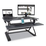 "Victor Height Adjustable Standing Desk w/Keyboard Tray, 36""W, Gray (VCTDCX760)"