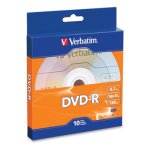 Verbatim DVD-R Recordable Disc, 4.7GB, 16x, Silver, 10/Pack (VER97957)