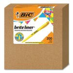 Bic Brite Liner Highlighter, Chisel Tip, Yellow, 200/Carton (BICBL200YW)