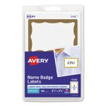 Avery Self-Adhesive Name Badge Labels, Gold Border, 100 Labels (AVE5146)