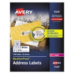 "Avery 5520 White WeatherProof Address Labels, 1"" x 2-5/8"", 1500 Labels (AVE5520)"