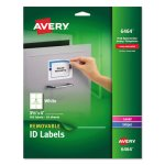 Avery Removable Inkjet/Laser ID Labels, 3-1/3 x 4, White, 150/Pack (AVE6464)