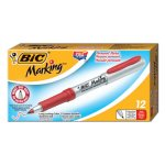 bic-mark-it-permanent-markers-ultra-fine-point-red-12-markers-bicgpmu11rd