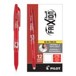 Pilot FriXion Ball Erasable Gel Pen, Red Ink, 0.7mm Fine, Dozen (PIL31552)