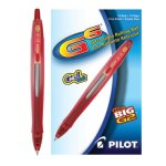 G6 Gel Roller Ball Pen, Retractable, Refillable, Red Ink, 12 Pens (PIL31403)