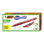 Bic Velocity Roller Ball Retractable Gel Pen, Red Ink, Dozen (BICRLC11RD)