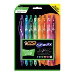 Bic Gel-ocity Quick Dry Retractable Gel Asstd Ink, Med, 8 Pens (BICRGLCGAP81AST)