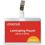 universal-clear-laminating-pouches-5-mil-id-tag-w-clip-25-pouches-unv84610