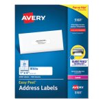 "Avery 5161 White Easy Peel Address Labels, 1"" x 4"", 2,000 Labels (AVE5161)"