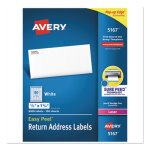 "Avery 5167 White Return Address Labels, 1/2"" x 1-3/4"", 8,000 Labels (AVE5167)"