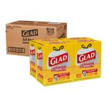 Glad 13 Gallon Drawstring Tall Kitchen Bags, 4 Boxes (CLO78526CT)