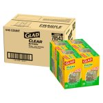 Glad 13 Gallon Clear Garbage Bags, 24x27, 0.9 mil, 180 Bags (CLO78543CT)