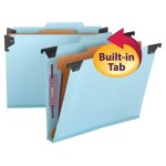 Smead Four Section Hanging Folder, Pressboard/Kraft, Letter, Blue (SMD65105)