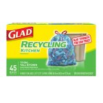 Glad 13 Gallon Tall-Kitchen Blue Recycling Bags, 45 Bags (CLO78542BX)