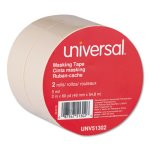 "Universal General Purpose Masking Tape, 2"" x 60 yds, 3"" Core, 2/Pack (UNV51302)"