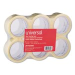 "Universal Box Sealing Tape, 2"" x 55 yards, 3"" Core, Clear, 6/Box (UNV63000)"