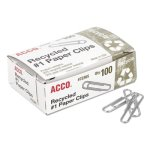 Acco Recycled Paper Clips, No. 1 Size, 100/Box, 10 Boxes/Pack (ACC72365)