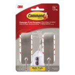 Command Hooks, Brushed Nickel, 2 Hook and 4 Strips/Pack (MMM17034BN2ES)