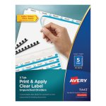Avery Index Maker Label Unpunched Divider, 5-Tab, White, 25 Sets (AVE11443)