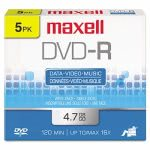 Maxell DVD-R Discs, 4.7GB, 16x, w/Jewel Cases, Gold, 5/Pack (MAX638002)