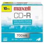 Maxell CD-R Discs, 700MB/80min, 48x, w/Slim Jewel Cases, 10/Pack (MAX648210)