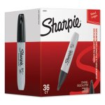Sharpie Chisel Tip Permanent Marker, Broad, Black, 36/Pack (SAN2083007)