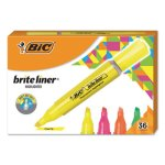 Bic Brite Liner Tank-Style Highlighter, Assorted, 36 Highlighters (BICBLMG36AST)