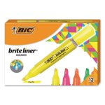 Bic Brite Liner Tank-Style Highlighter, Assorted, 12 Highlighters (BICBLMG11AST)