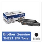 Brother TN2212PK Toner, 2500 Page-Yield, Black, 2/Pack (BRTTN2212PK)