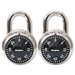 Master Lock Combination Lock, Stainless Steel, Black Dial, 2 Locks (MLK1500T)