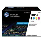 HP 305A, (CE305AQ1) 4-Pack Black/Cyan/Magenta/Yellow Original LaserJet Toner Cartridges (HEWCE305AQ1)