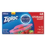 Ziploc Double Zipper Quart Storage Bags, 1.75 mil, 48 Bags (SJN314469BX)
