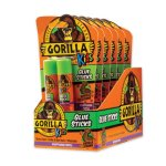 Gorilla Glue School Glue Sticks, 0.21 oz/Stick, Dries Clear, 12 Sticks/Box (GOR2605208BX)