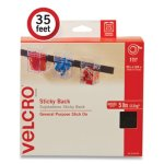 "Velcro Sticky-Back Fasteners, 0.75"" x 35 ft, Black (VEK24403729)"