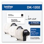 Brother Die-Cut Shipping Labels, 2.4 x 3.9, White, 300/Roll, 3 Rolls/Pack (BRTDK12023PK)