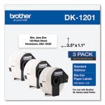 Brother Die-Cut Address Labels, 1.1 x 3.5, White, 400/Roll, 3 Rolls/Pack (BRTDK12013PK)