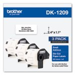 Brother Die-Cut Address Labels, 1.1 x 2.4, White, 800/Roll, 3 Rolls/Pack (BRTDK12093PK)
