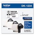 Brother Die-Cut Name Badge Labels, 2.3 x 3.4, White, 260/Roll, 3 Rolls/Pack (BRTDK12343PK)