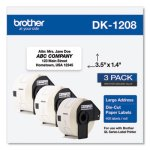 Brother Die-Cut Address Labels, 1.4 x 3.5, White, 400/Roll, 3 Rolls/Pack (BRTDK12083PK)