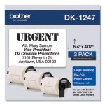 Brother Die-Cut Shipping Labels, 4.07 x 6.4, White, 180/Roll, 3 Rolls/Pack (BRTDK12473PK)